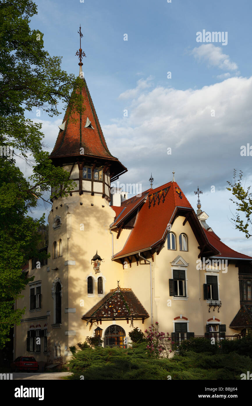 Villa on the Millstaetter See, Millstatt Lake, Millstatt, Carinthia, Austria, Europe - Stock Image