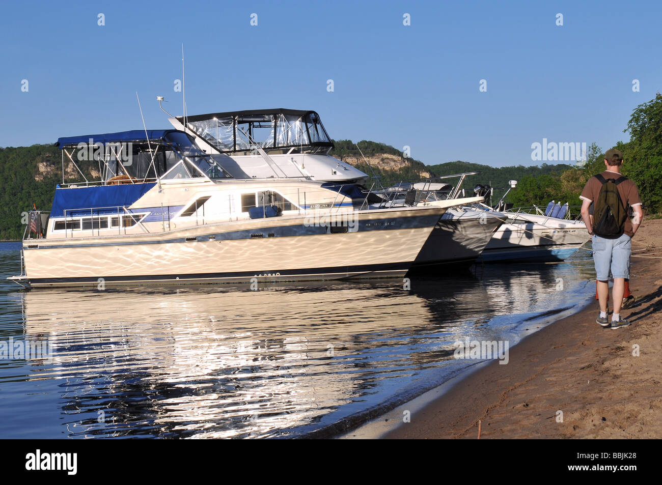 Anchored boats. - Stock Image