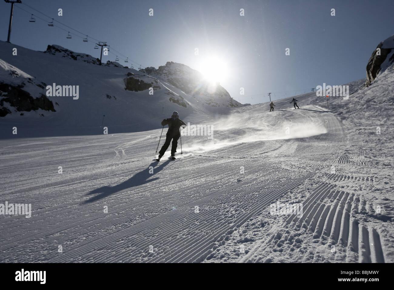 Skiing Blackcomb mountain Whistler Stock Photo