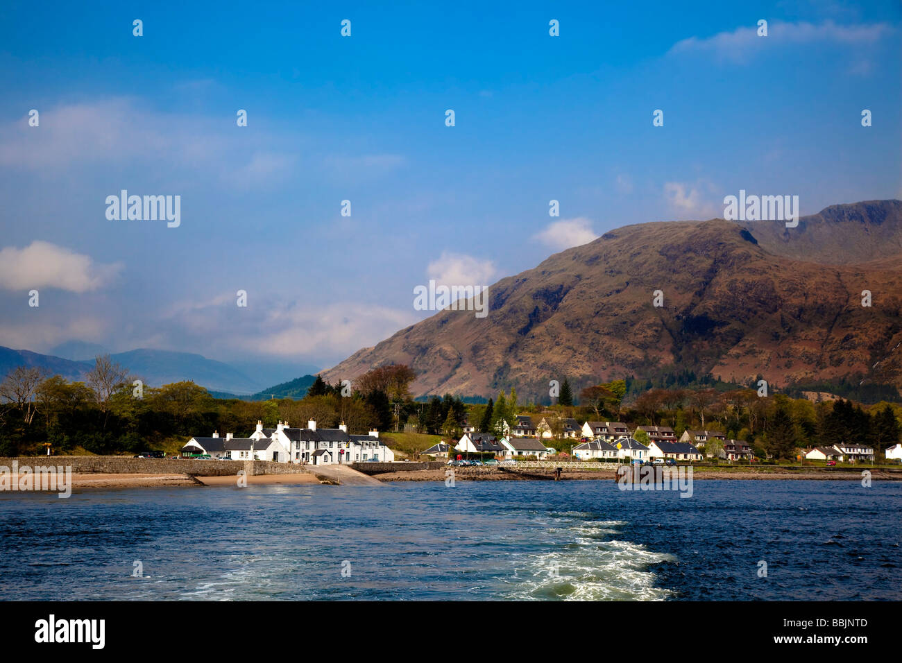 View from the ferry the Inn at Ardgour Corran Ardgour Fort William Inverness shire Stock Photo