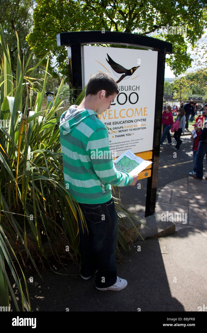 Teenager looking at map of Edinburgh Zoo, Scotland, UK - Stock Image