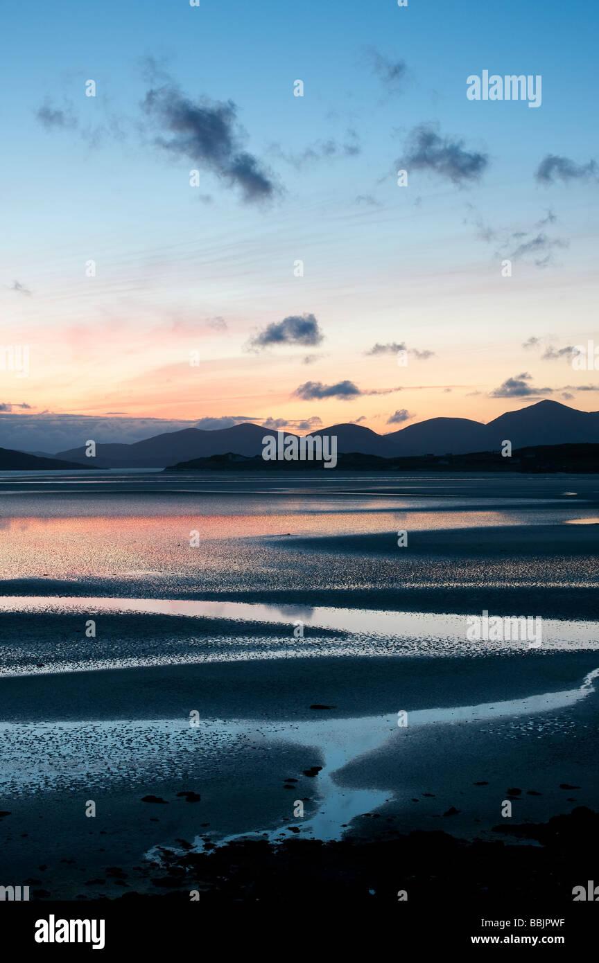 Sunset over Seilebost beach, Seilebost, Isle of Harris, Outer Hebrides, Scotland, UK - Stock Image