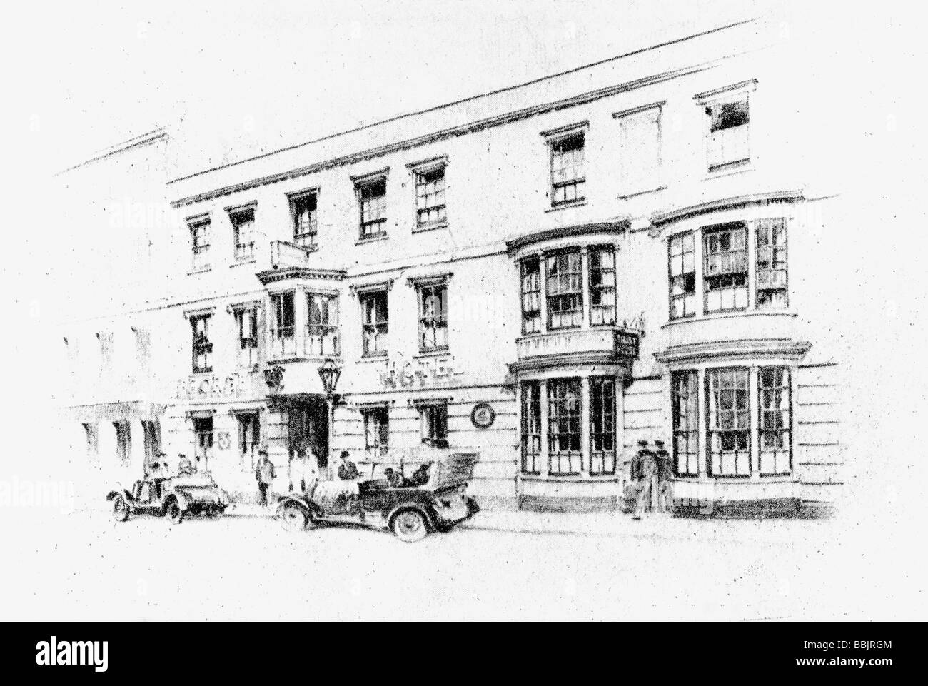 The historic George inn at Porstmouth Hampshire England in the 1920s. Pencil drawing by Mr W. M. Keesey. - Stock Image