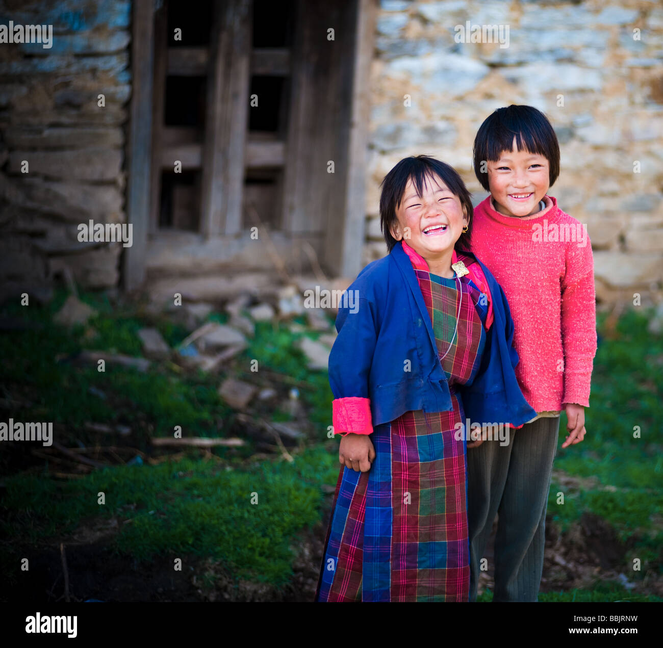 Bhutanese children - Bhutan - Stock Image