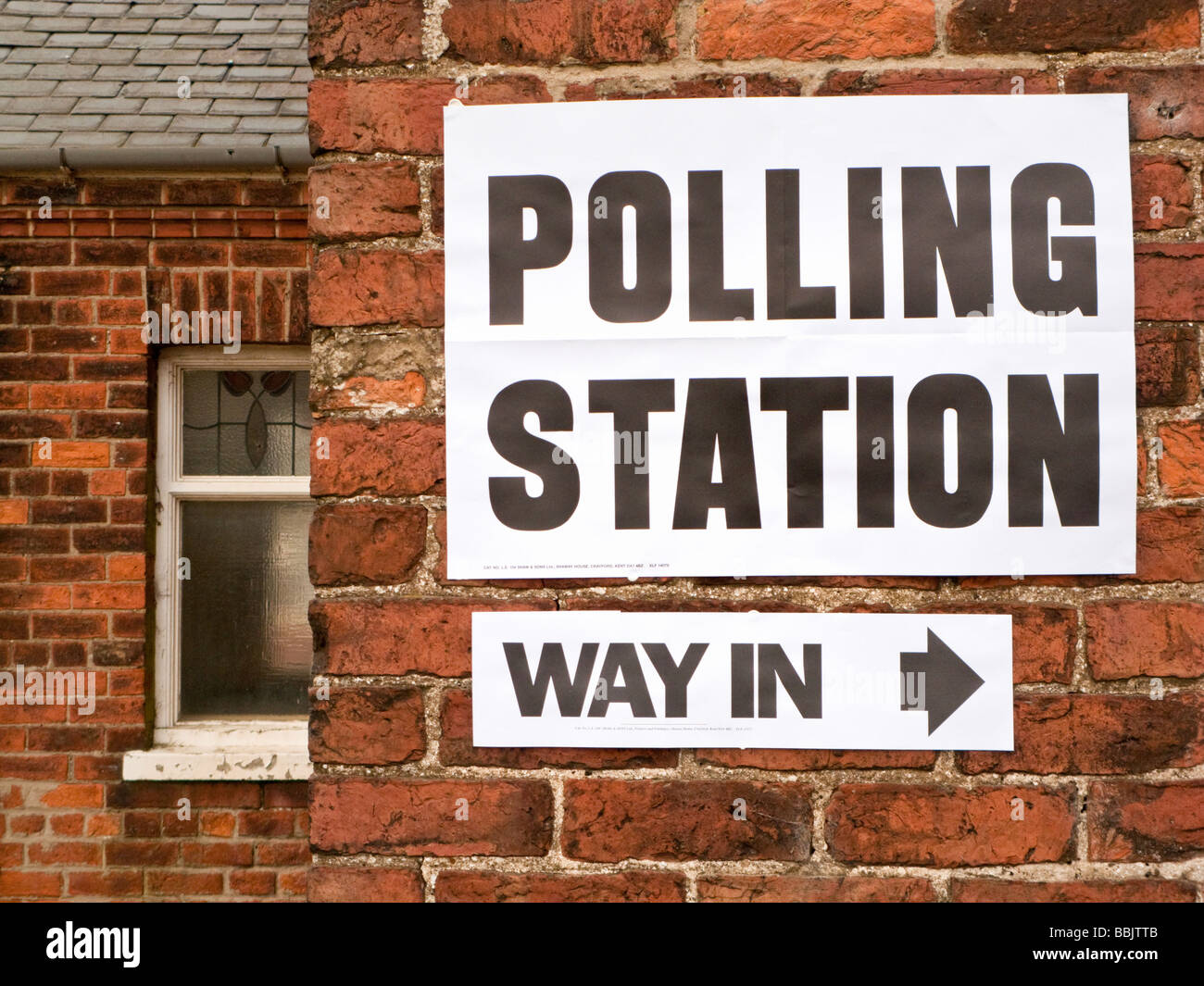 Polling Station, sign in England, UK, General Election - Stock Image
