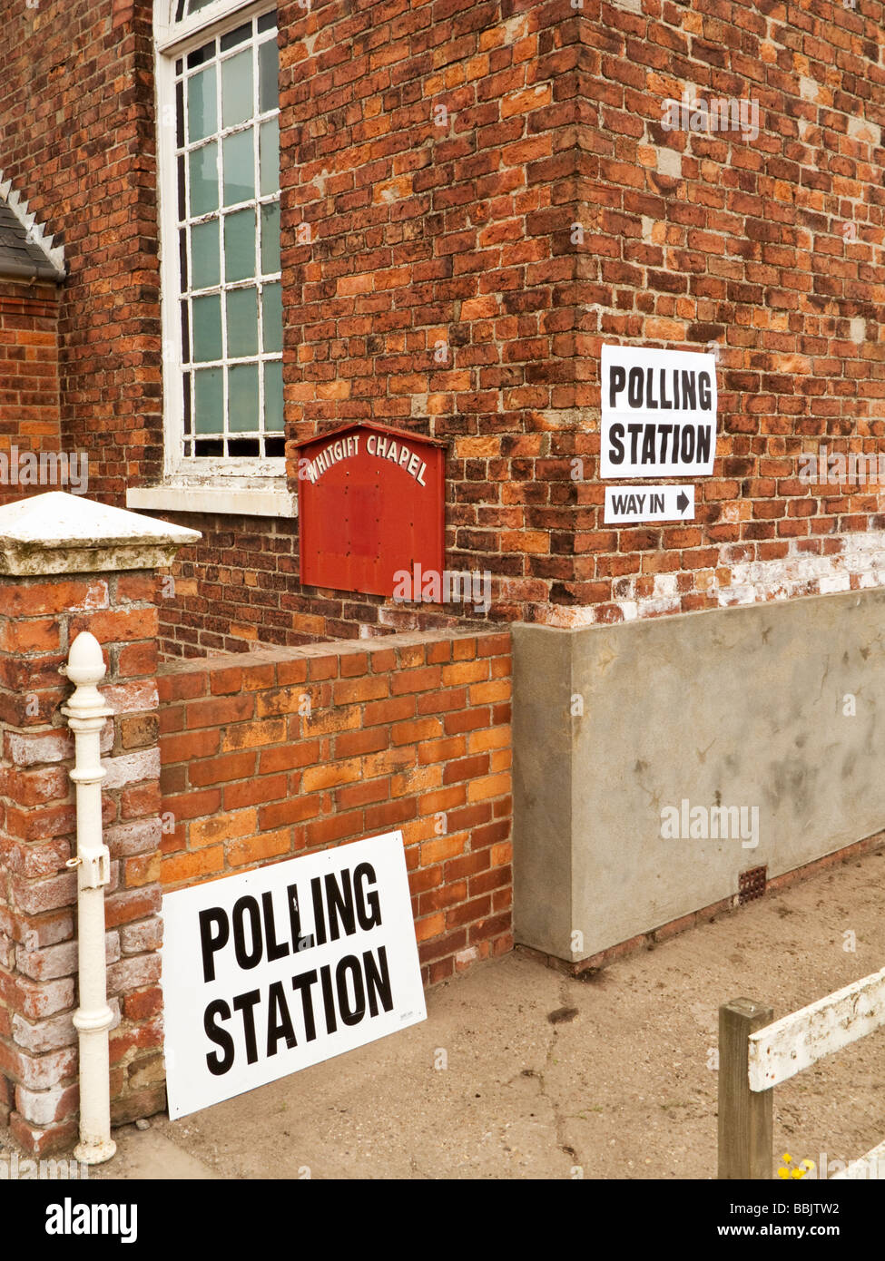 Polling Station signs for a General Election on a small rural chapel England UK - Stock Image