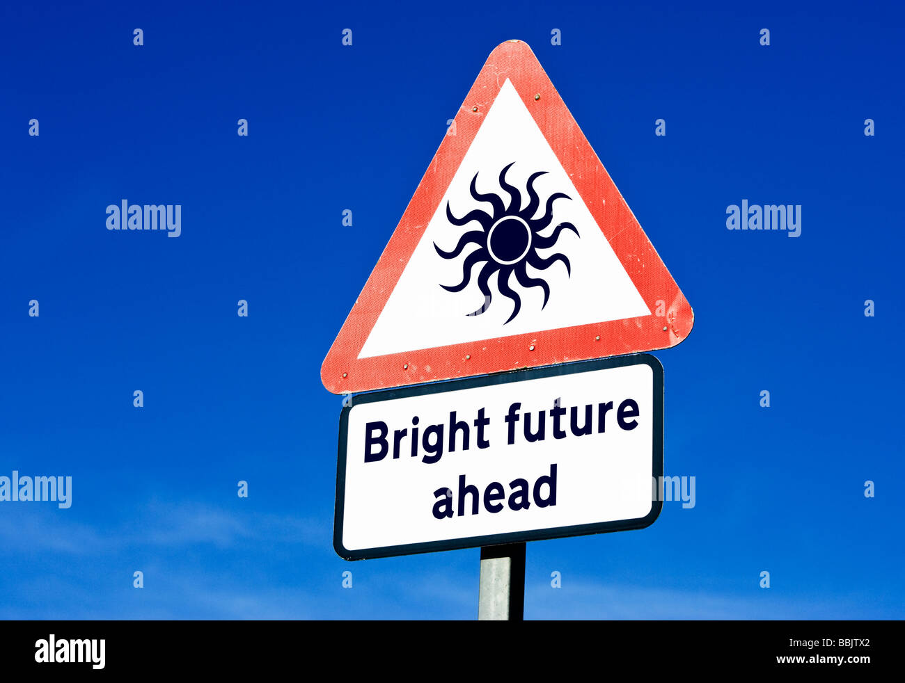 Bright future / economic recovery concept sign England UK - Stock Image