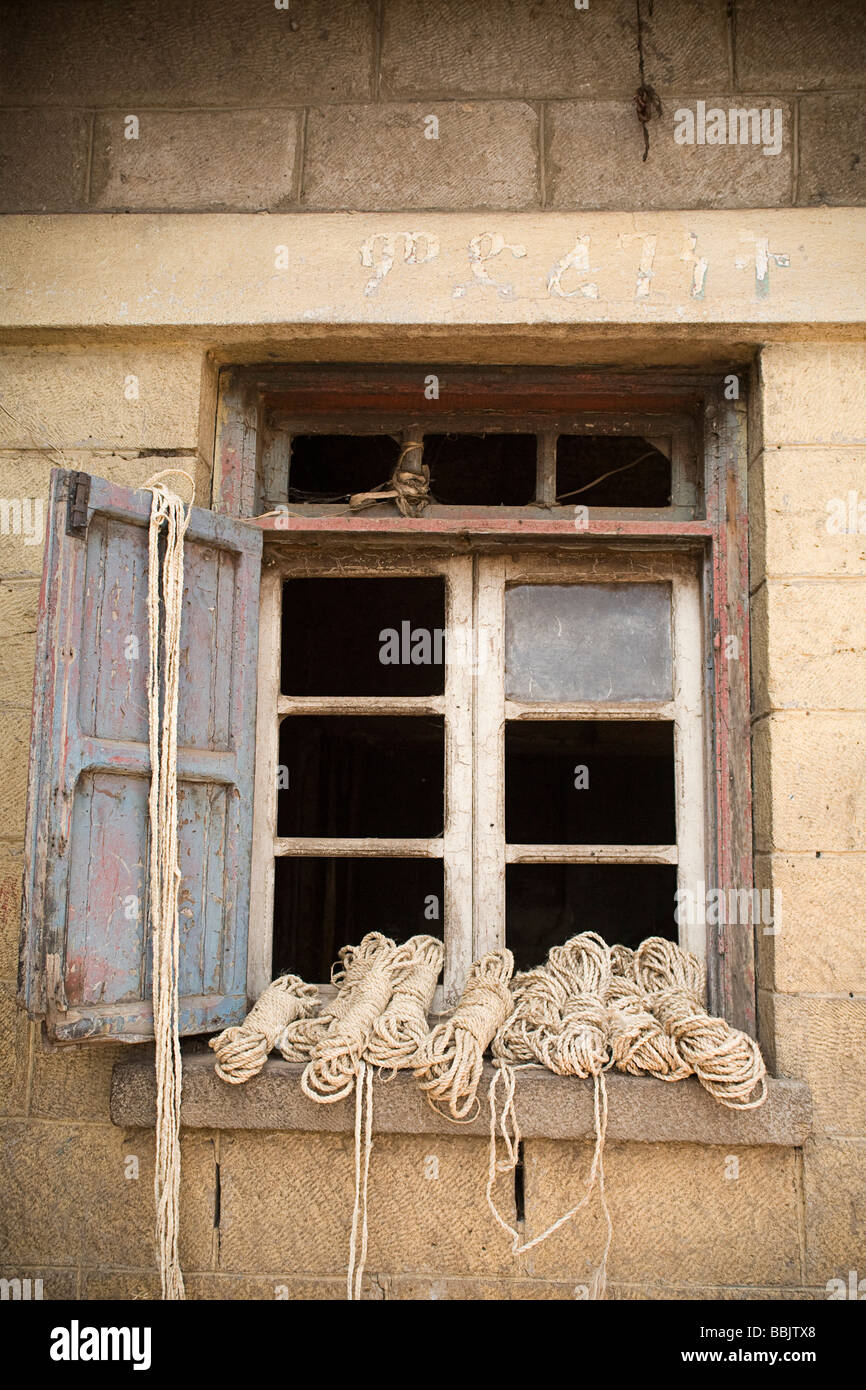 Addis Ababa, Ethiopia; Bundles of rope sitting in window frame Stock ...