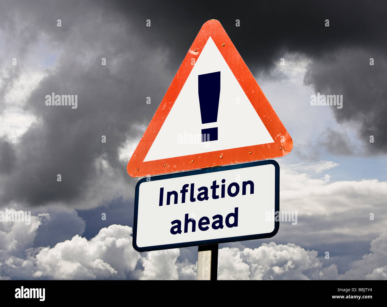 Sign concept showing Inflation Rising Ahead - future prediction, economy, economics concepts, UK - Stock Image