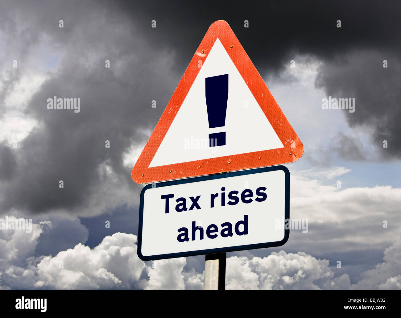 Concept sign for British UK Tax Rises Ahead - future taxation prediction / budget concepts - Stock Image