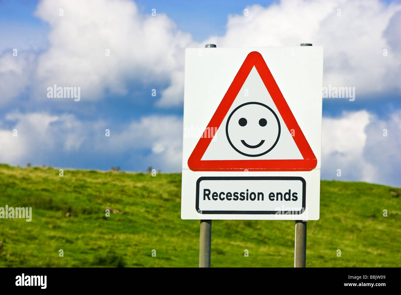 UK concept sign - recession ends England UK - Stock Image