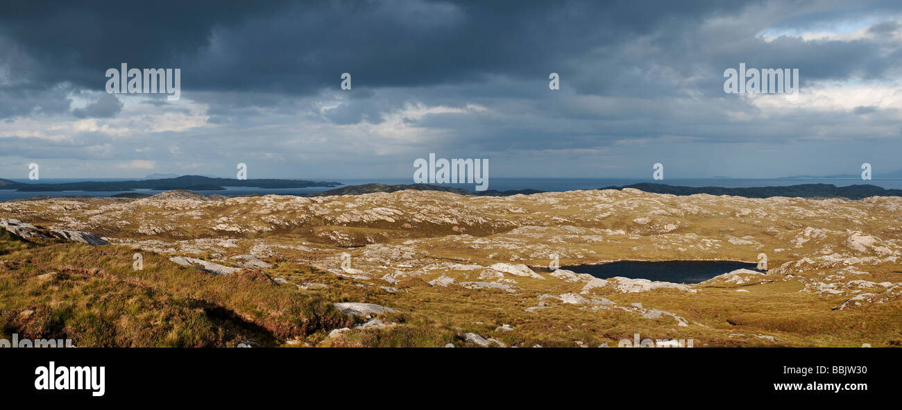 Loch and barren landscape, East coast, Isle of Harris, Outer Hebrides, Scotland - Stock Image
