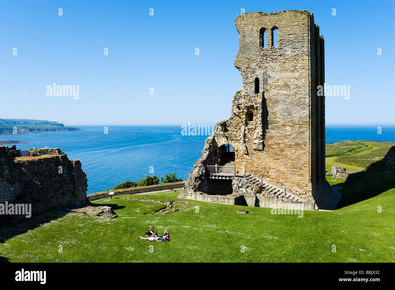 View over the Keep and North Bay from inside the Castle, Scarborough, East Coast, North Yorkshire, England - Stock Image