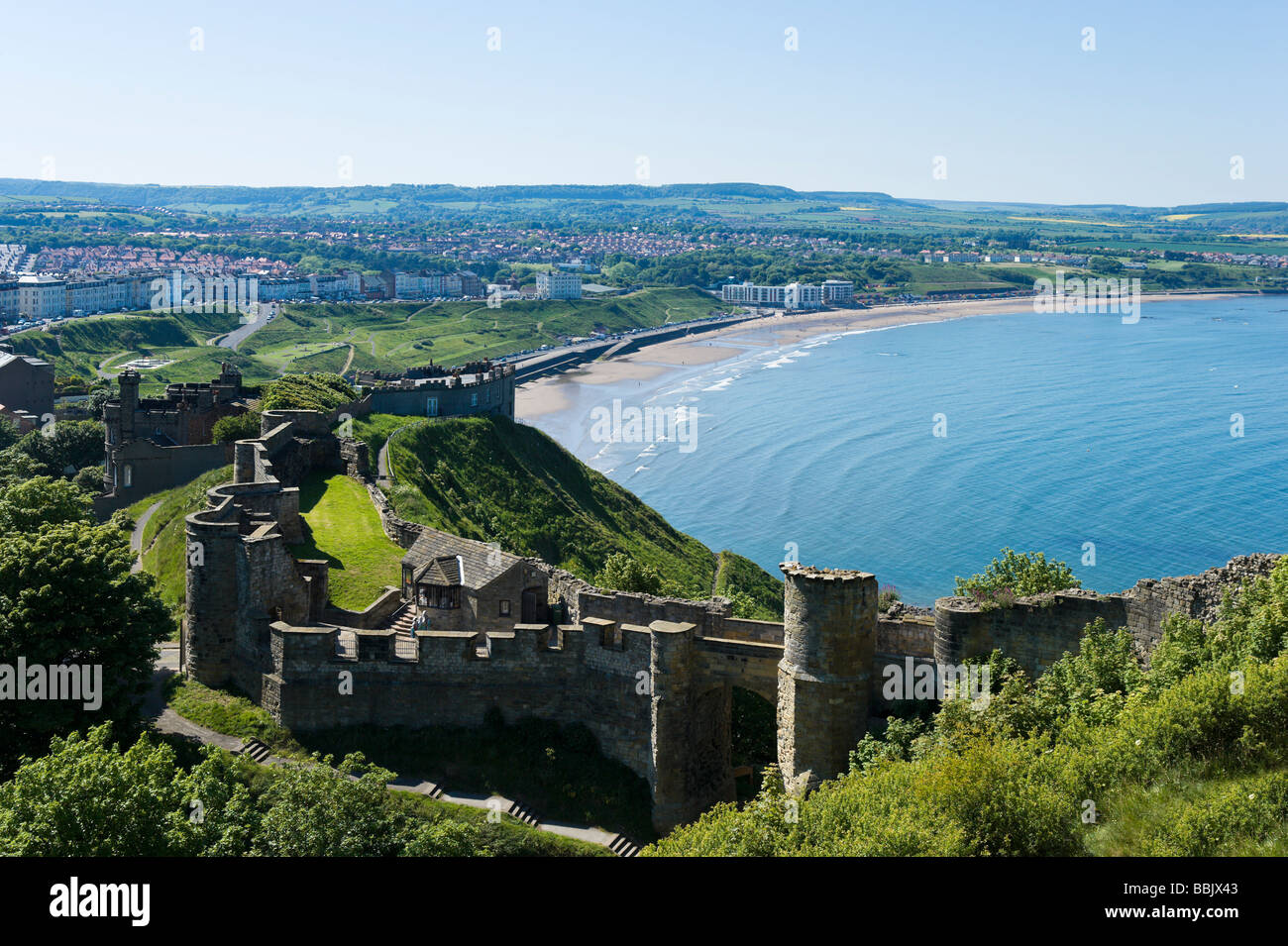 View over North Bay from inside the Castle, Scarborough, East Coast, North Yorkshire, England - Stock Image