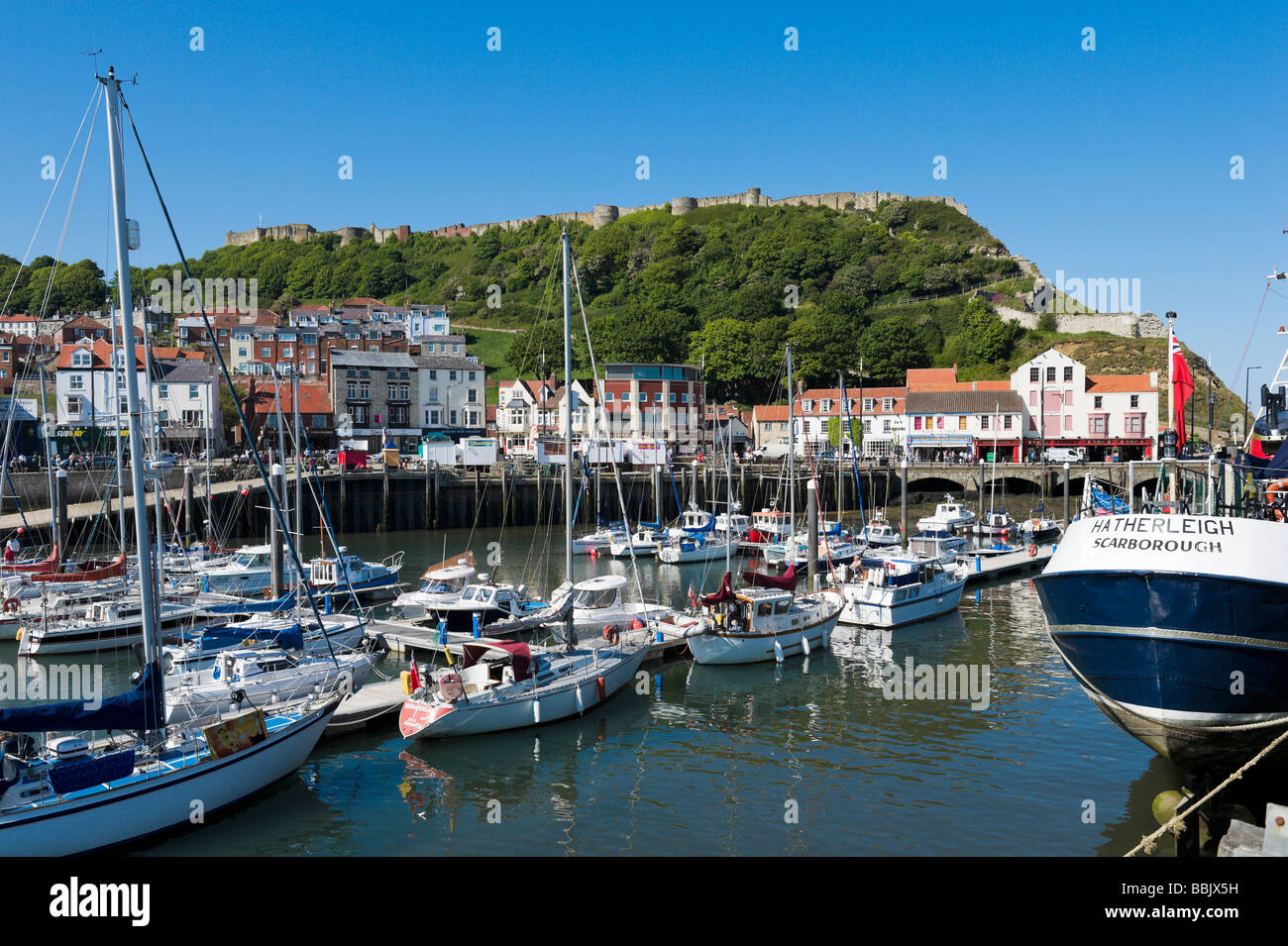 Castle and old town from across the harbour, Scarborough, East Coast, North Yorkshire, England - Stock Image