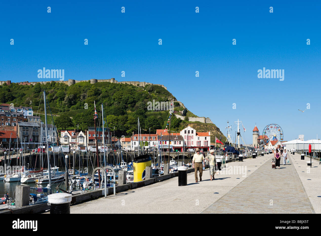 Castle and old town from the quayside, Scarborough, East Coast, North Yorkshire, England - Stock Image