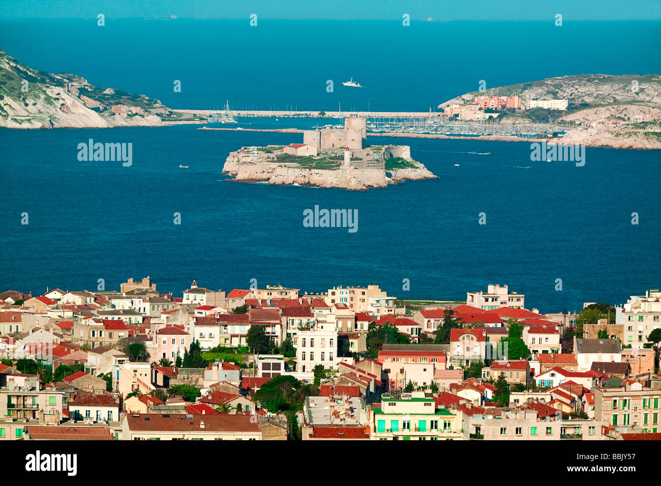 FRIOUL ISLANDS AND IF CASTLE IN MARSEILLE - PROVENCE - FRANCE - Stock Image