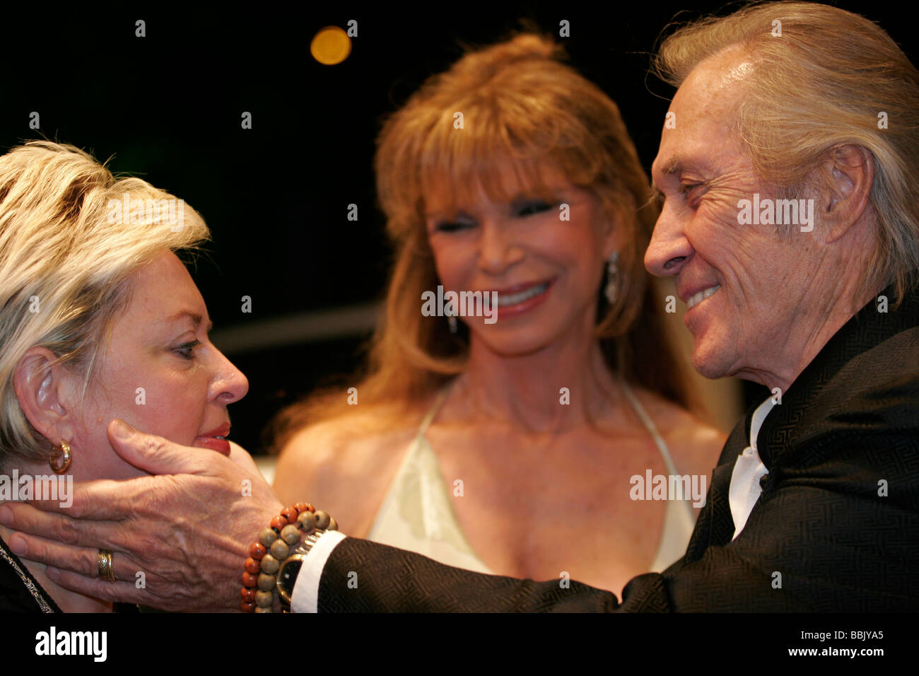 Hollywood star kung fu actor David Carradine, fellow Hollywood actress Ann Turkel +other actress in Almaty, Kazakhstan - Stock Image