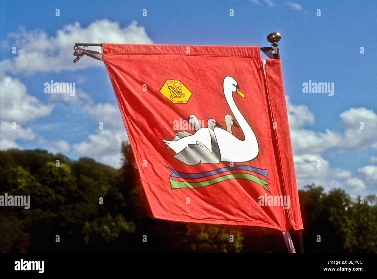 The Thames Vintage Boat Club swan upping flag flies on a launch on the River Thames at Henley England UK - Stock Image