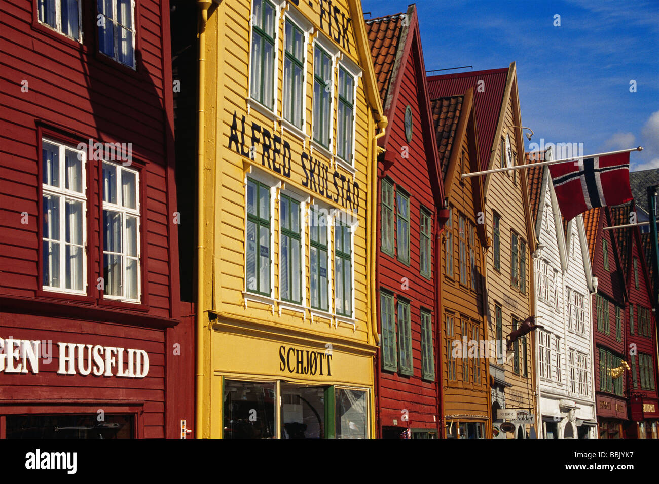 Historic wooden houses of Bryggen, the medieval German Wharf of Hanseatic merchants in Bergen, Norway. - Stock Image