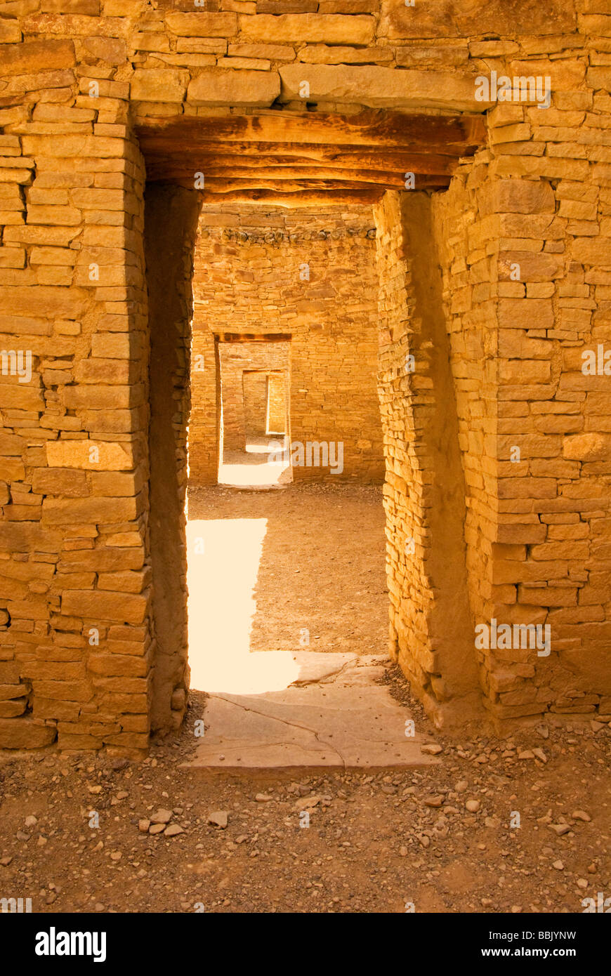 USA New Mexico Chaco Culture National Historical Park Pueblo Bonito interior doors through rooms chacoan stone Stock Photo