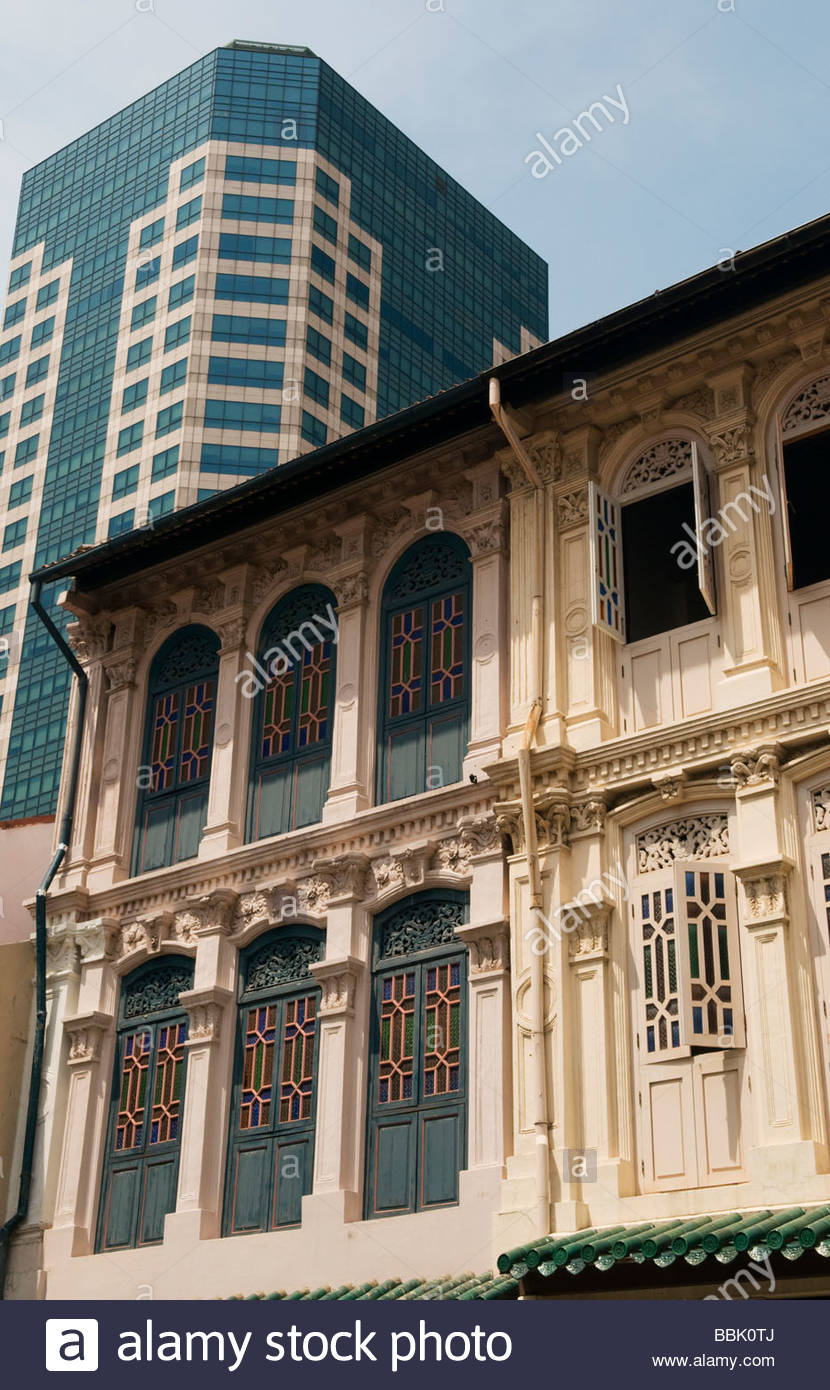 Colonial era restored shophouses in the central business district of  Singapore 2009 - Stock Image
