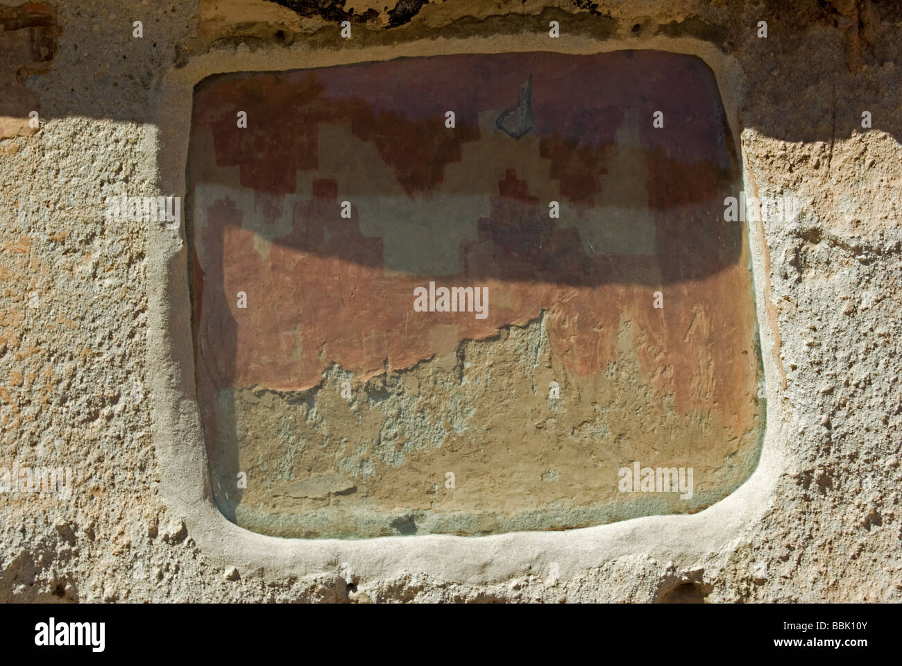 USA New Mexico Bandelier National Monument rock art painted design pictograph back wall of dwelling - Stock Image