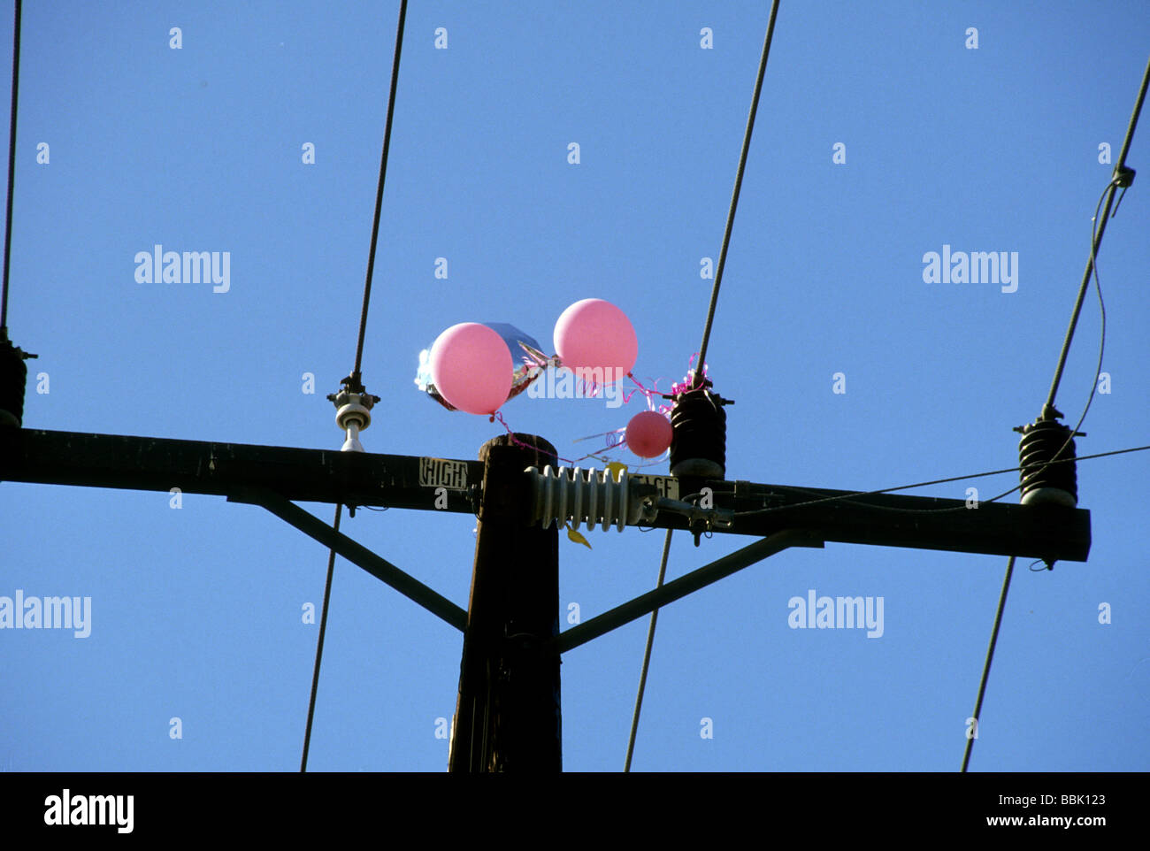 balloon foil high voltage power wire line danger risk threat short ...