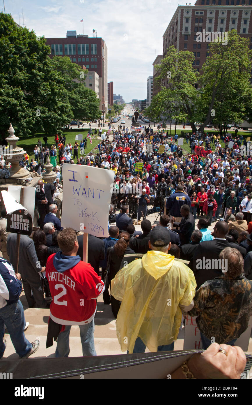 Jobs Rally at Michigan State Capitol - Stock Image
