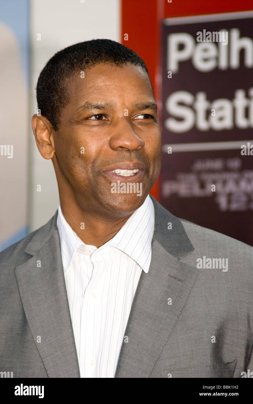 """LOS ANGELES - JUNE 4: Denzel Washington arrives at the """"Taking of Pelham 123"""" premiere in Westwood, Los Angeles, Stock Photo"""