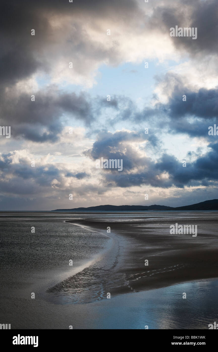 Sunset and storm clouds over Isle of Harris, Luskentyre beach, Outer Hebrides, Scotland Stock Photo