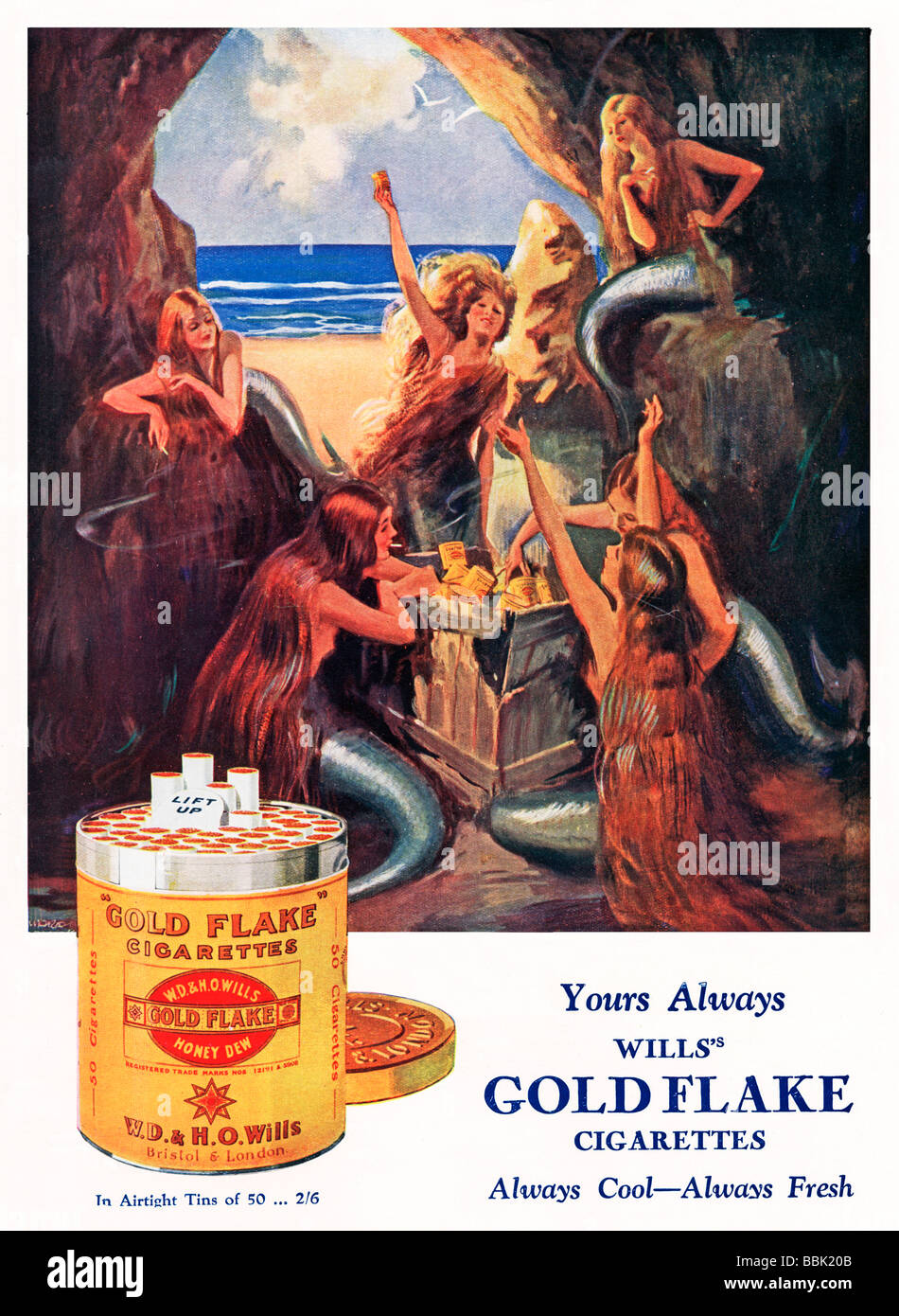 Wills Gold Flake the mermaids are delighted to find a crate of cigarettes in their cave in this 1920s advert - Stock Image