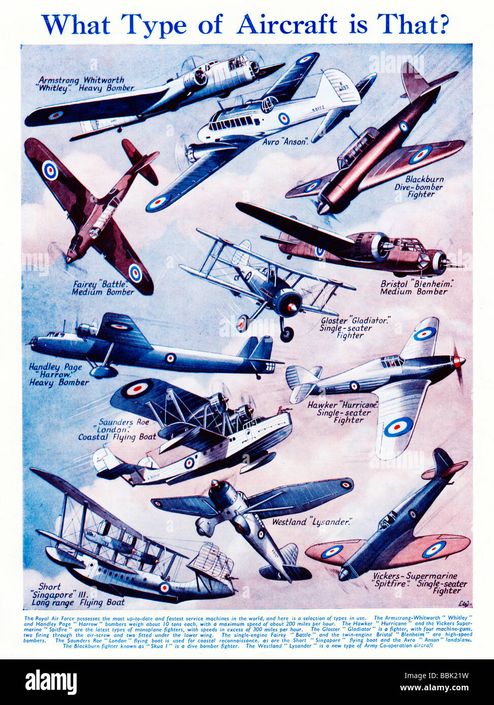 What Type Of Aircraft 1939 magazine illustration of military aircraft of the Royal Air Force on the eve of World - Stock Image