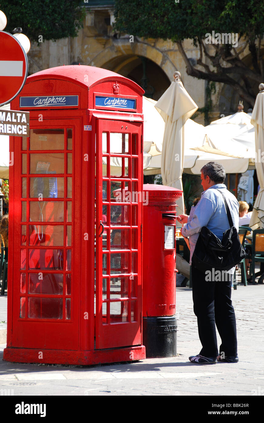 MALTA. A traditional red British phonebox and postbox on Republic Square in the centre of Valletta. 2009. Stock Photo