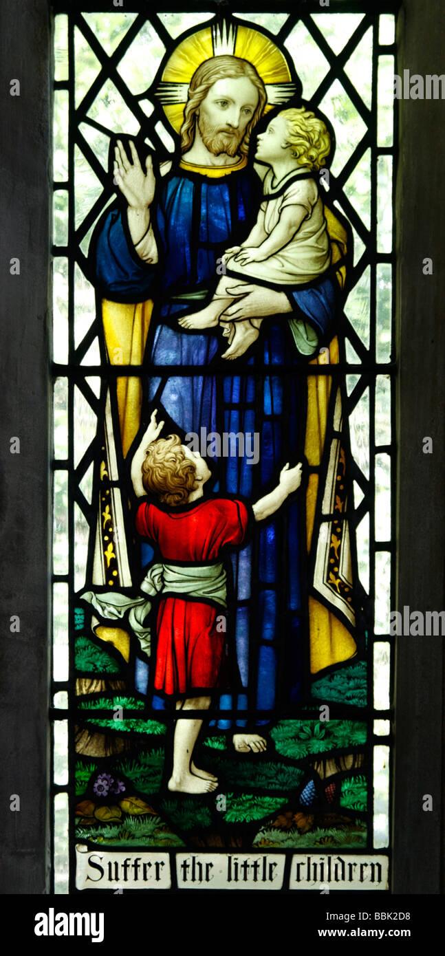 Jesus Christ Parable Suffer the little children to come unto me - Stock Image