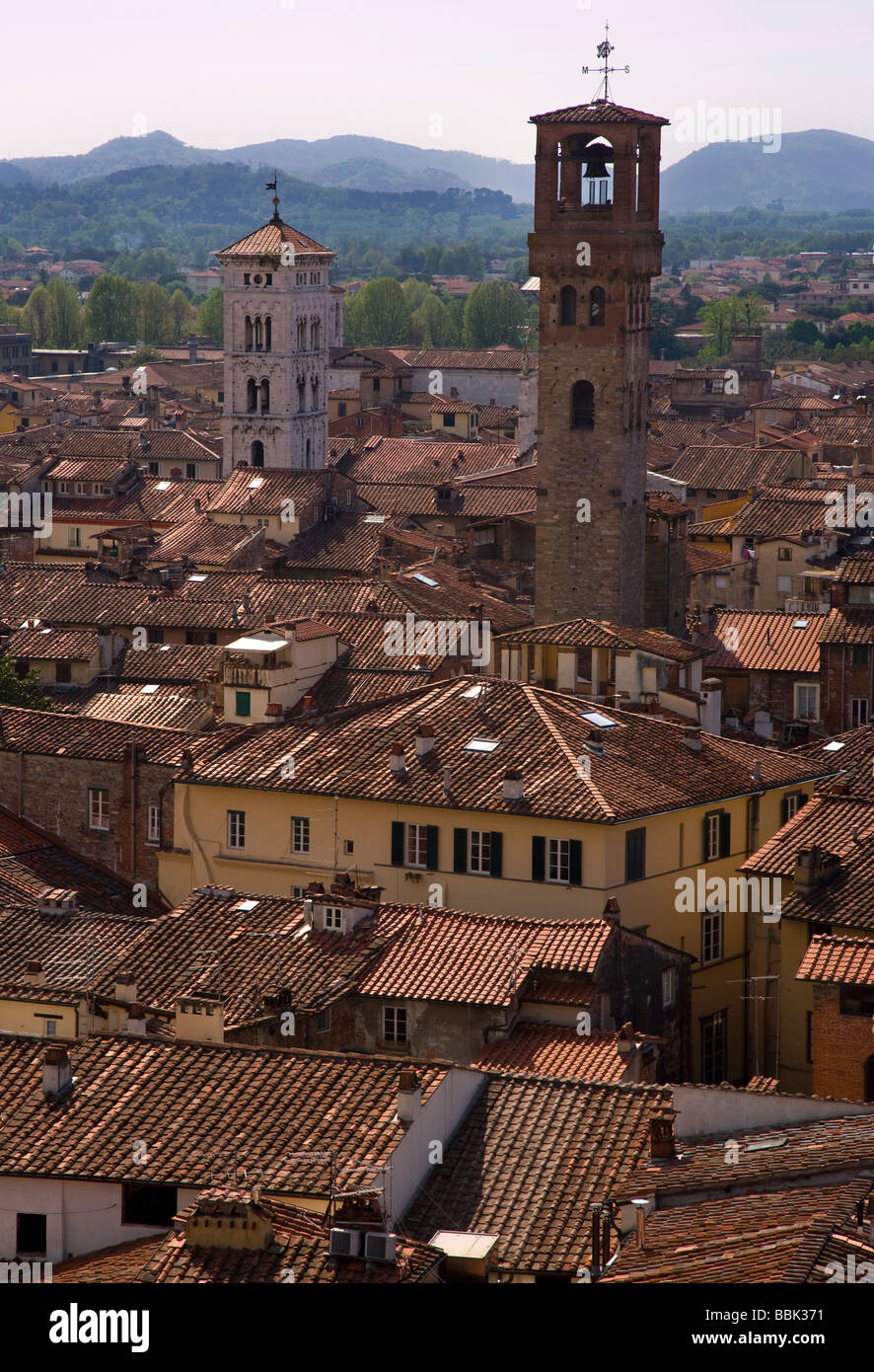 High view of city from Torre Guinigi to torre delle ore  and chiesa di san michele in foro,Lucca,Tuscany,Italy,Europe - Stock Image