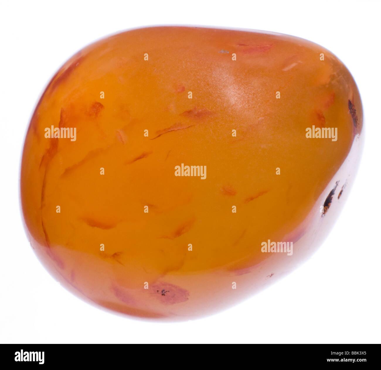 Carnelian polished gemstone tumblestone - Stock Image