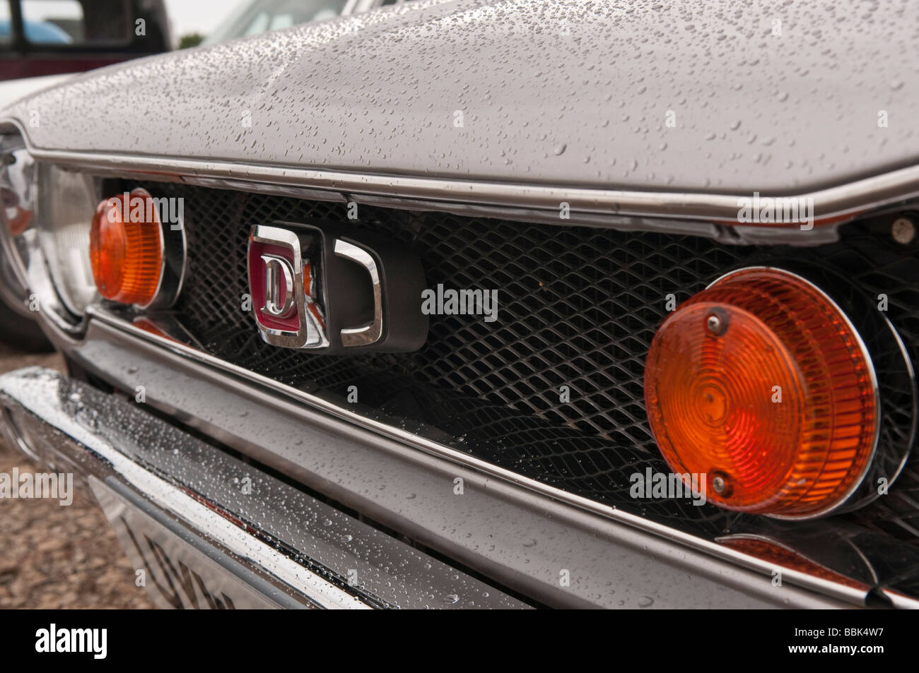 Front grille of a first generation (E10) Datsun 120A, produced from 1970-1977 - Stock Image