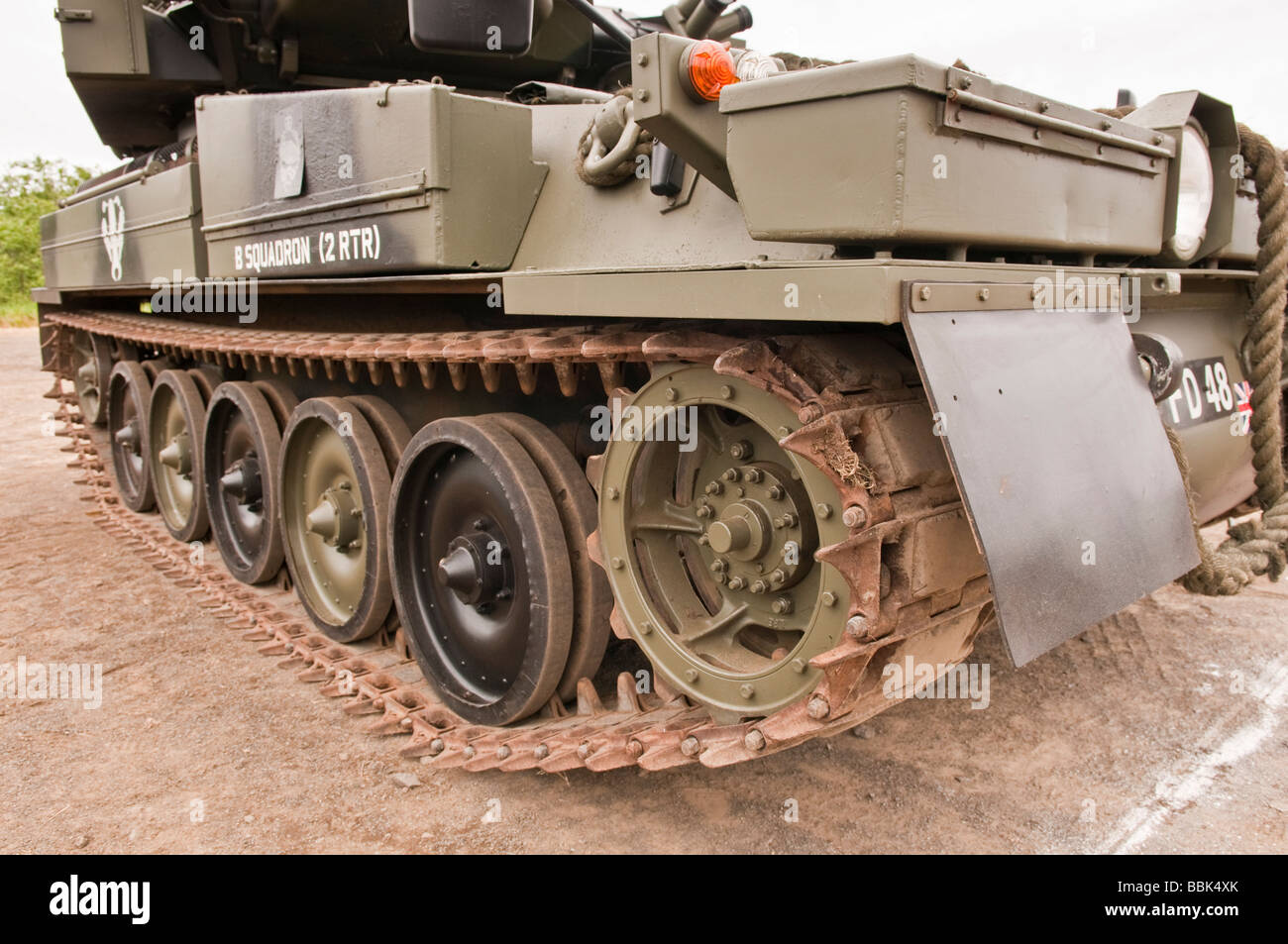 Tracks on a British Army Sabre tank, used in active service between 1995 and 2004 - Stock Image