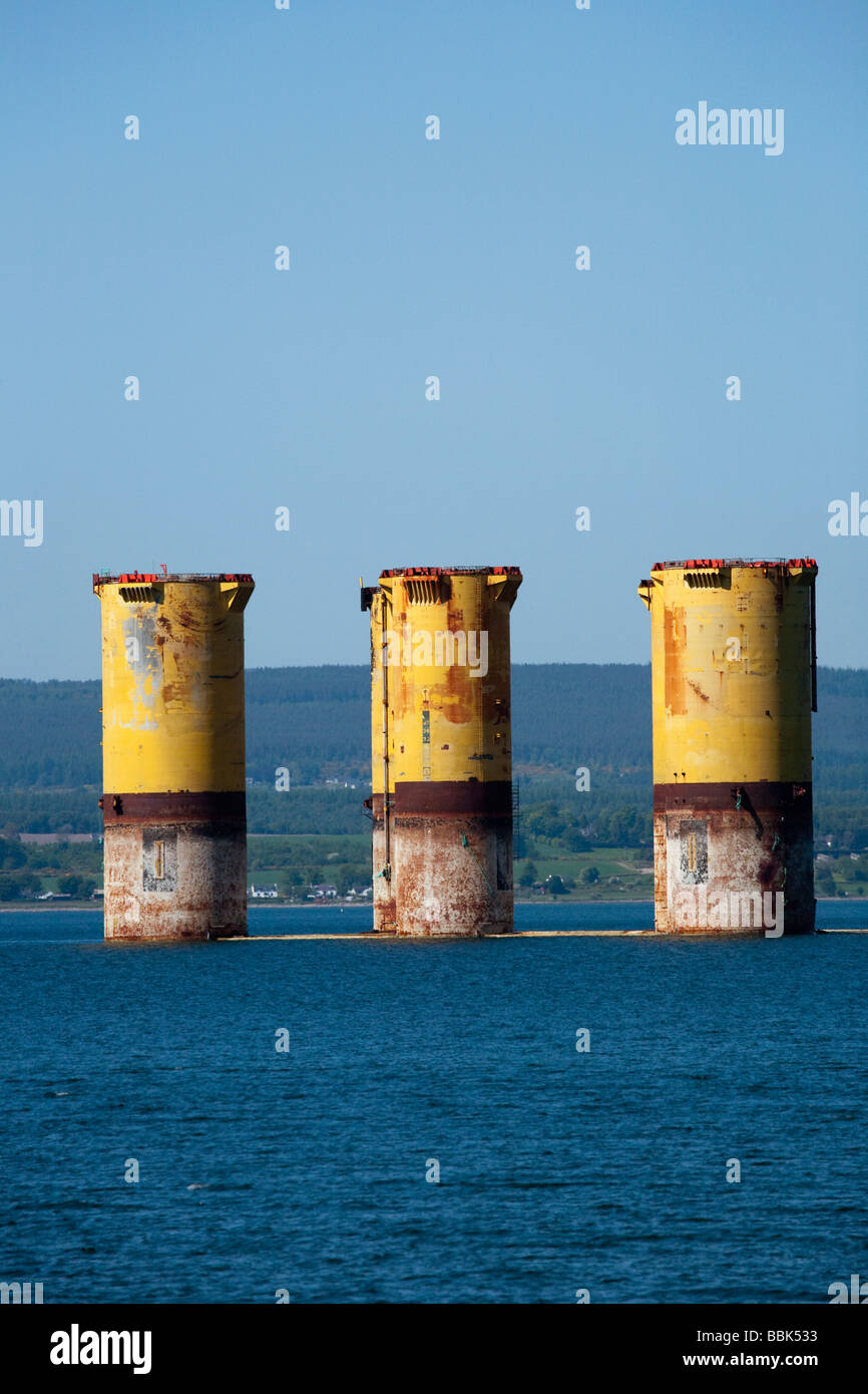 An oil rig anchored at Invergordon on the Cromarty Firth in Scotland, United Kingdom. - Stock Image