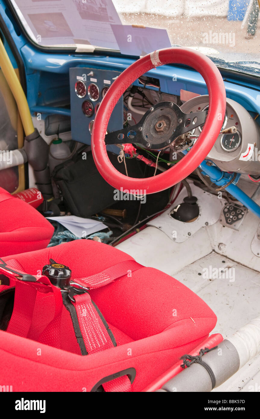 Interior of a 1960s Ford Anglia which has been rally prepared - Stock Image