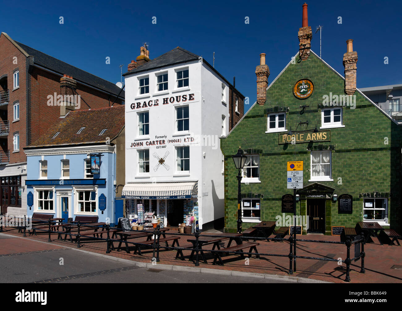 Old buildings in Poole quay in dorset - Stock Image