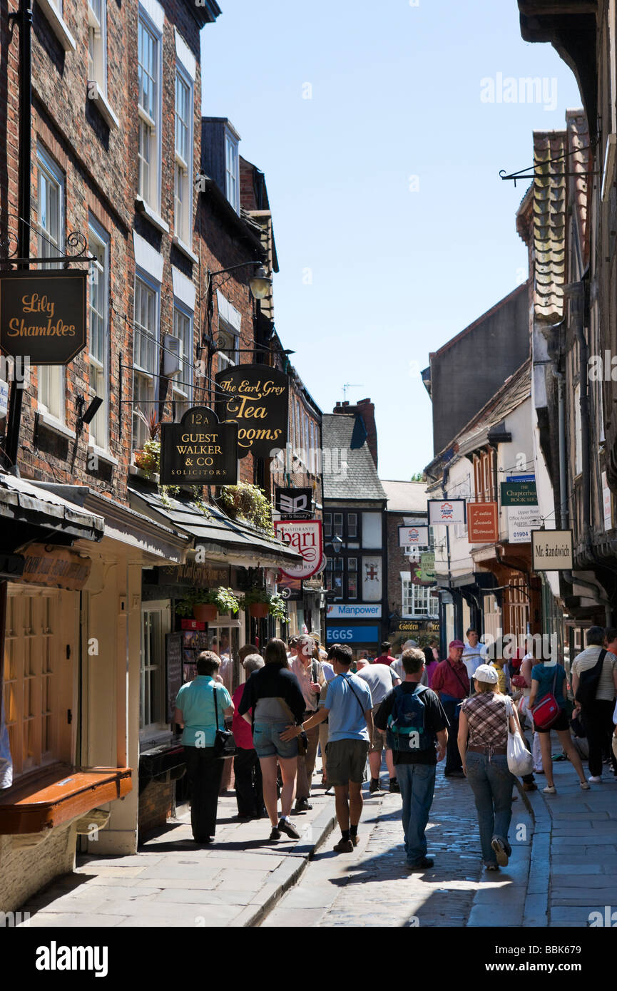 The Shambles in the historic city centre, York, North Yorkshire, England - Stock Image
