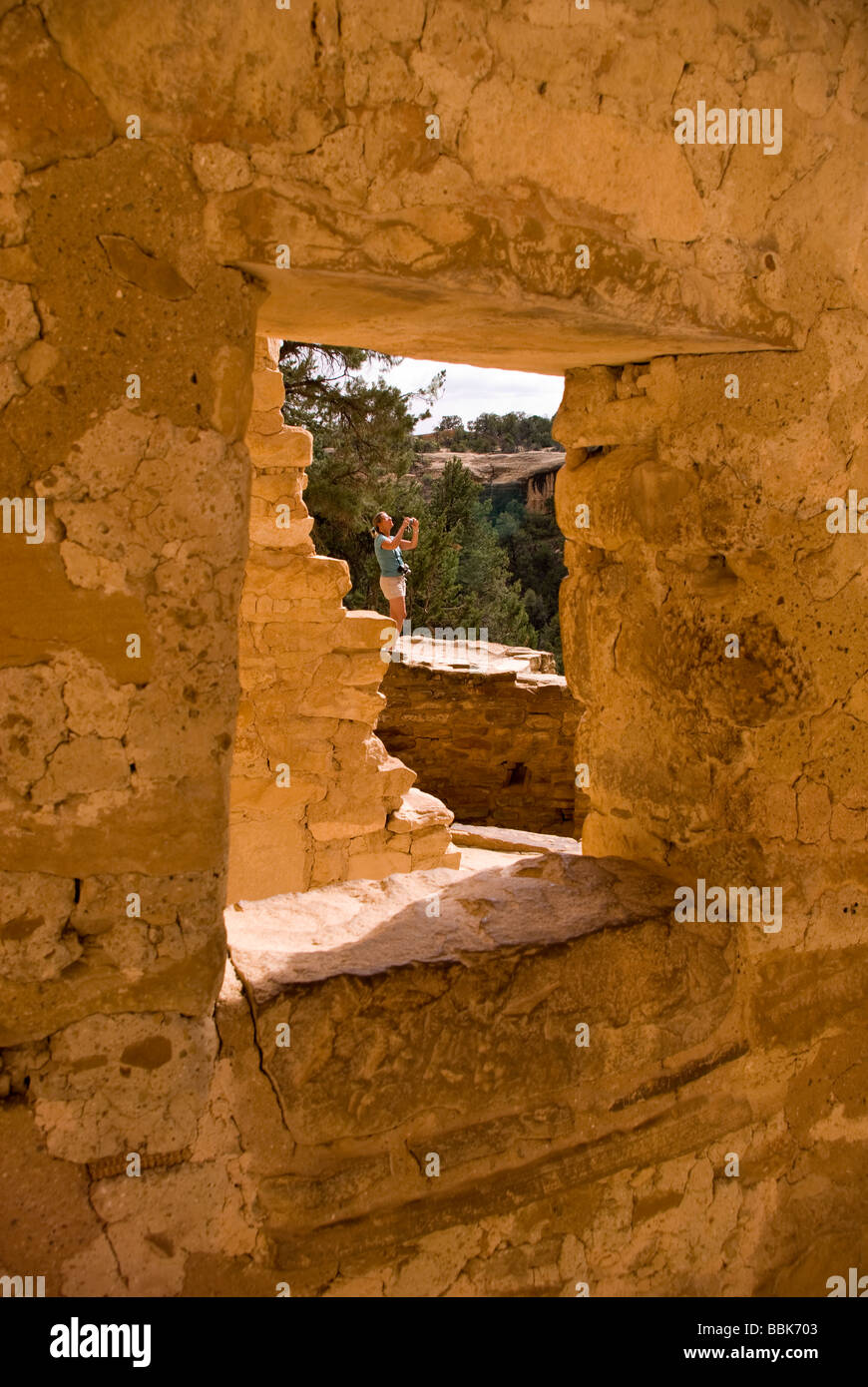 USA Colorado Cortez Mesa Verde National Park Cliff Palace tourist photographing 12 century ancestral puebloan cliff - Stock Image