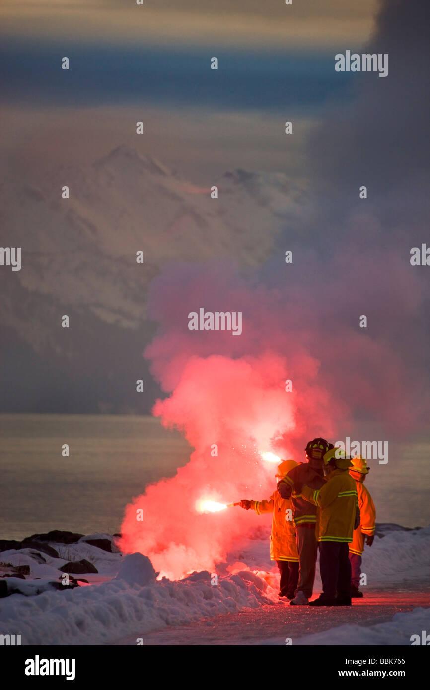 AVTEC students training on flare usage Seward Alaska - Stock Image