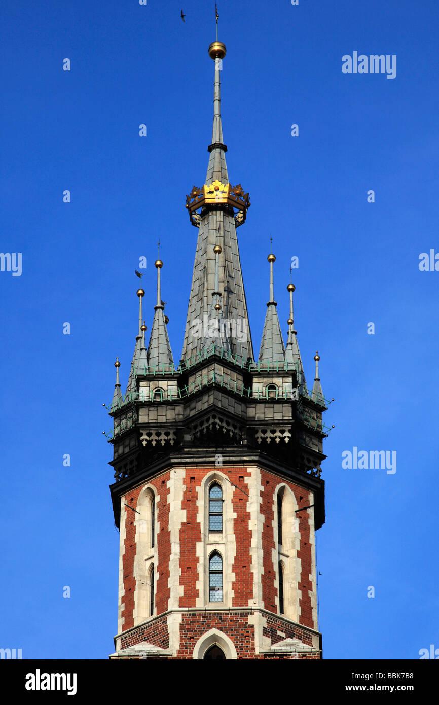 Poland Krakow Main Market Square St Mary s Church - Stock Image