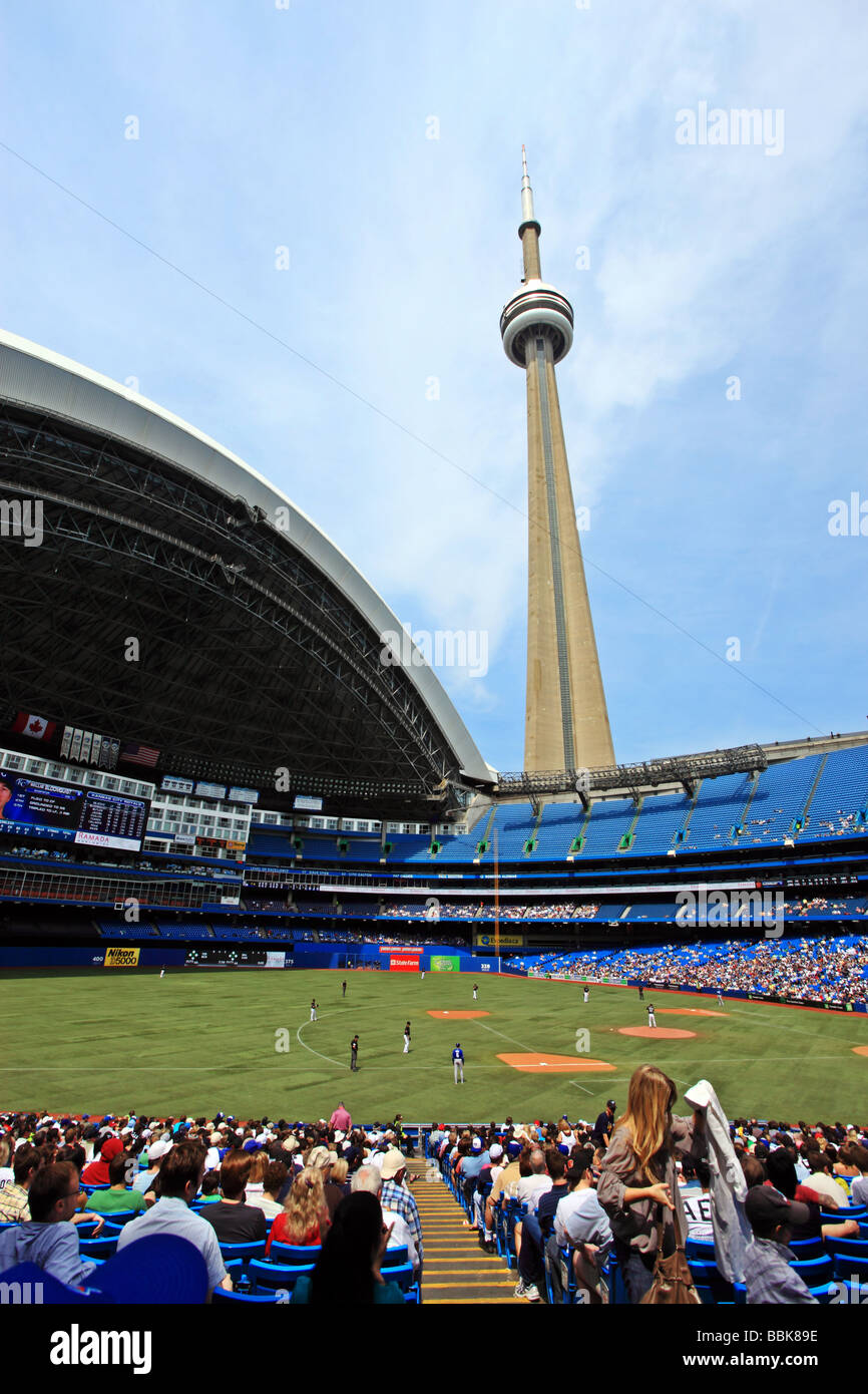 Rogers Centre with CN Tower Toronto Ontario Canada - Stock Image