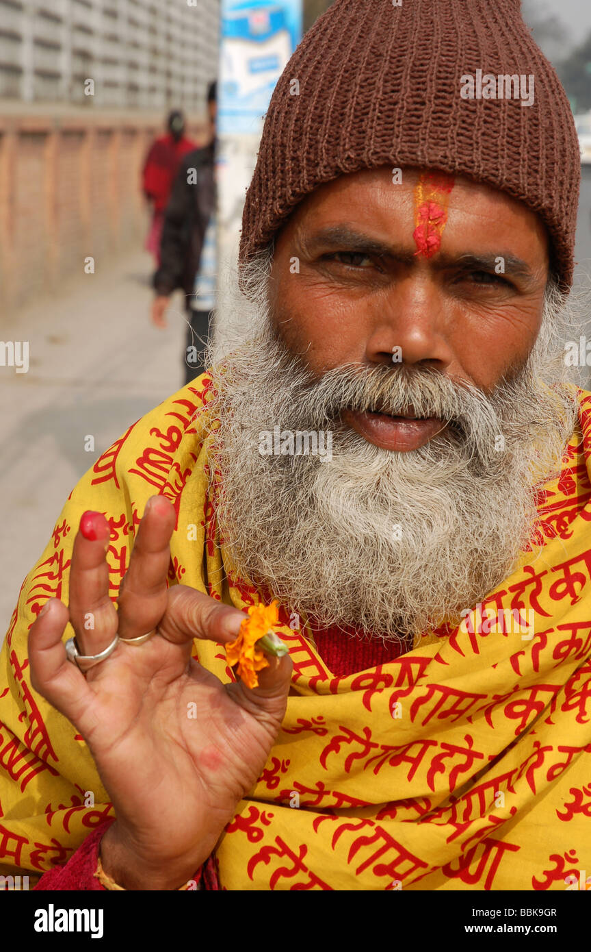 Portrait of nepalese Sadhu (holy man) in Kathmandu, NEPAL - Stock Image