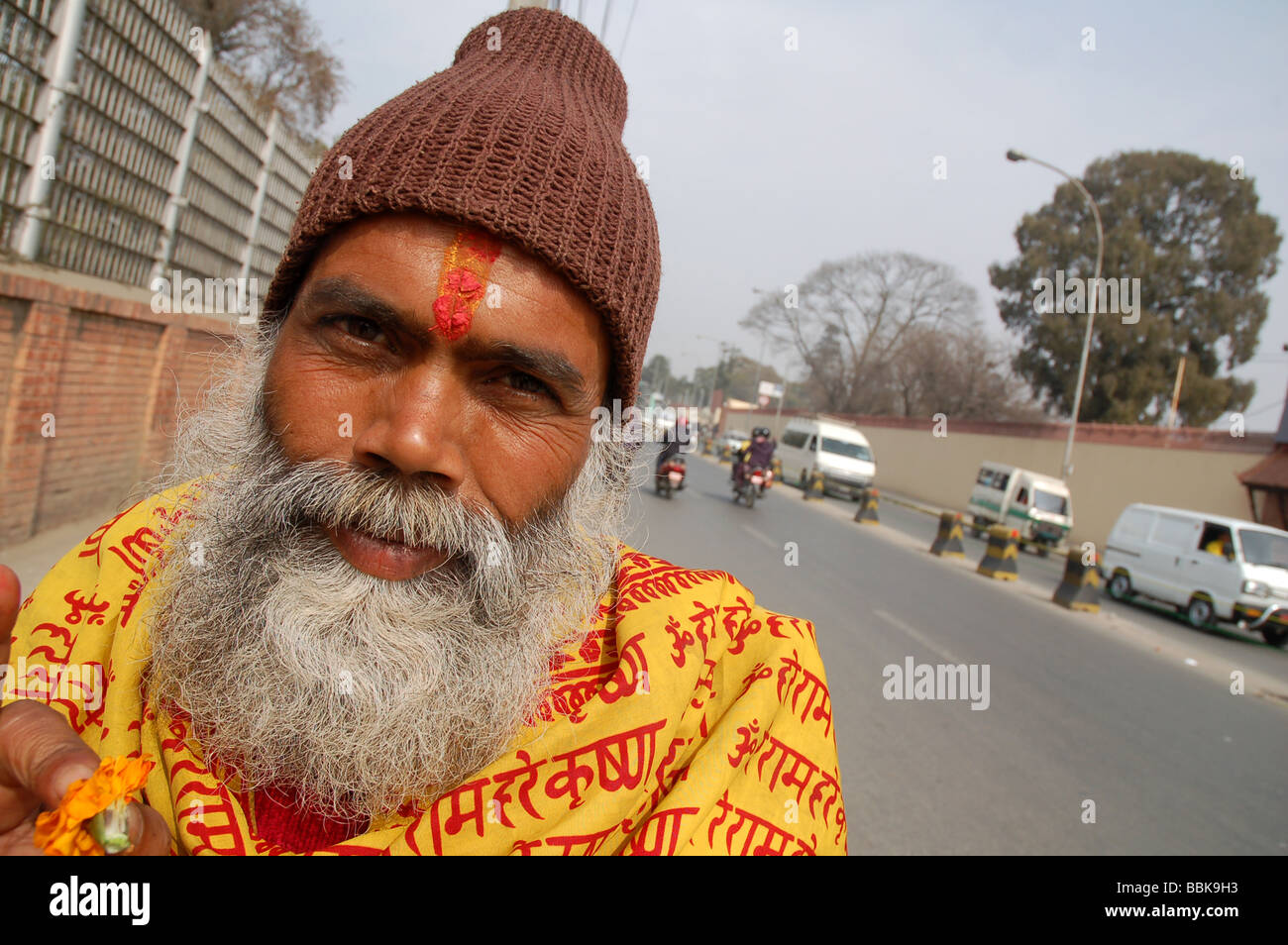 Portrait of a sadhu (holy man) in Kathmandu, NEPAL - Stock Image