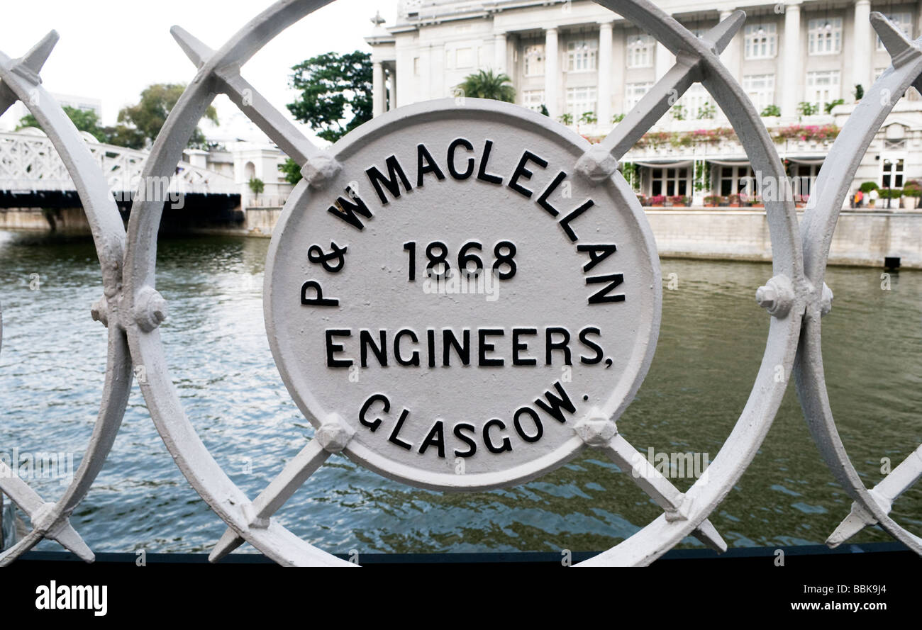 The Cavenagh suspension bridge in Singapore was built in 1868 by P and W Maglellan Engineers from Glasgow Scotland - Stock Image